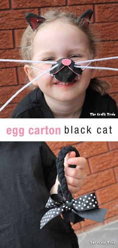 Easy egg carton black cat costume you can make for next to nothing. This is a simple DIY idea for Halloween which is also great for pretend play!