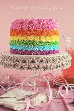 Swirly Rainbow Cake (Inside and Out!) #rainbow #cake #birthdaycake