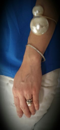Chanel inspired giant pearl cuff