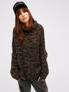 Sheila Márquez || FP In Her Element Ultra Comfy Semi-Sheer Knit Mock-Neck Tunic (Black Combo)