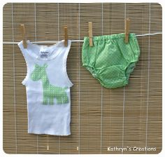 Unisex Green and White Spots Nappy Cover Set with Giraffe Applique - Size 0000 | Kathryn's Creations | madeit.com.au