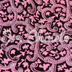 Lonita Glitter Fino Flocado, Floral, Rosa