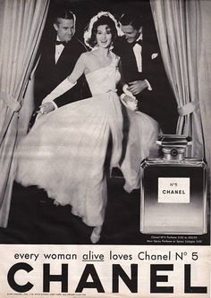 "This advertisement, like many other perfume ads is irrelevant to the product being sold. If the image of the product wasn't there, then this advertisement wouldn't have had any relevance to the product at all. The ad implies that once a woman wears Chanel No5, she'll be just as happy and beautiful as the woman in the ad, and will have men admire her. The statement ""every woman alive"" indicates that you will be more 'alive' and live life to its fullest if you use Chanel."