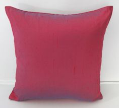 STOCK CLEARANCE 40% OFF- Red dupioni silk pillow with a Blue shot  2 toned colour cover 16 inch