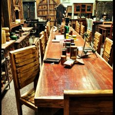 """Custom-made teak table for twenty... Talk about a dinner party!  Loved Sha who helped me at """"Rustic Home"""" in San Marcos / San Diego today :) http://www.rustichomesanmarcos.com/"""