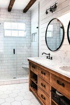 27 Beautiful Farmhouse Master Bathroom Decor Ideas And Remodel. If you are looking for Farmhouse Master Bathroom Decor Ideas And Remodel, You come to the right place. Here are the Farmhouse Master Ba. Wood Bathroom, White Bathroom, Bathroom Flooring, Bathroom Interior, Modern Bathroom, Bathroom Ideas, Bathroom Cabinets, Wood Cabinets, Bathroom Lighting