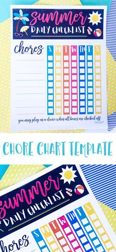 Summer Chore Chart Template by Lindi Haws of Love The Day Chore Chart Template, Printable Chore Chart, Chore Chart Kids, Checklist Template, Chore Charts, Free Printables, Daily Routine Chart For Kids, Charts For Kids, Summer Checklist