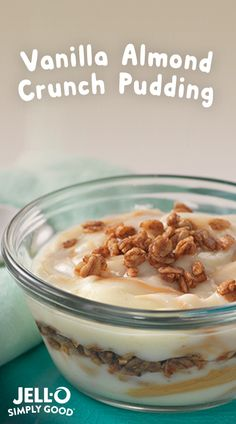 Start your day with JELL-O SIMPLY GOOD Vanilla Bean pudding for real vanilla flavor then swirl in almond or peanut butter and top with granola! This naturally sweet, nutty flavor and the slight crunch of granola top off any morning meal perfectly. JELL-O SIMPLY GOOD is made with no artificial flavors, dyes or preservatives for a Delightfully Honest treat.