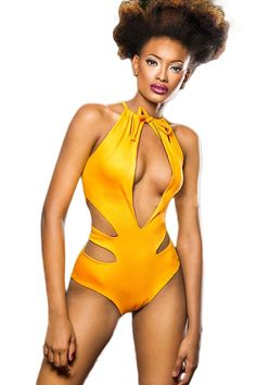 5c7971d657a Yellow Monikini with Cut outs Halter Bikini, Halter Neck, Bikini Swimwear,  Sexy Bikini