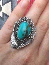 Huge Vintage Native American Navajo Turquoise Big Large Sterling Silver Ring