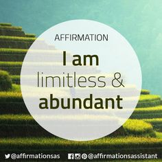 "Affirmation: ""I am limitless and abundant"" #abundance #positive #lawofattraction #loa #affirmation #affirmations #positiveaffirmations #positiveaffirmation #success #happiness #motivation #motivational #abundant #successtrain #manifest #achieve #joytrain #ThriveTOGETHER"