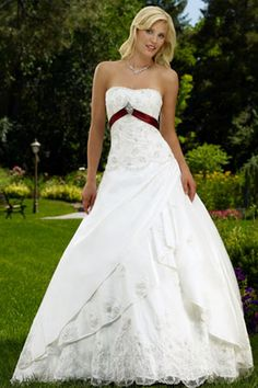 colored wedding dresses - Google Search The red belt at the top makes the dress stand out