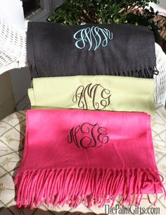BEST SELLER - Monogrammed Cashmere Feel Scarf - Monogrammed Scarves $20 from the Palm Gifts - Unique Monogrammed Gifts for Every Occasion
