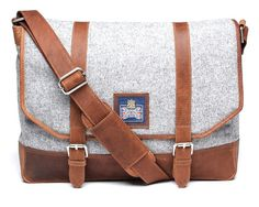 Grey felt and leather shoulder bag