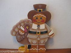 HP Gingerbread pilgrim and turkey Thanks-giving shelf sitter hand painted wood