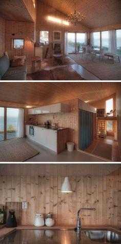 This wooden cabin features an open living, dining and kitchen area with lots of windows to let natural light in and to take advantage of the water views.