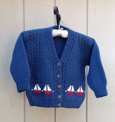 Boys knit cardigan with sail boat motifs, Kids navy knitted sweater