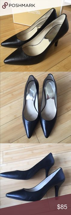"Michael Kors Black Leather Heels Overall like new. No major damage or flaws. Slight discoloration on the heels (see pics). Only worn a handful of times on job interviews. Fit true to size. Elegant, classy and comfortable. 3"" heel. Comes with original box. No trades. MICHAEL Michael Kors Shoes Heels"