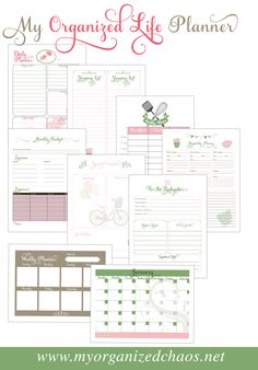 My Organized Life Printable Planner, free printables to schedule and organize day to day life in 2016
