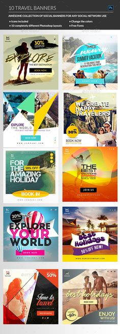 Buy Travel Banners by madridnyc on GraphicRiver. A sharp, creative and professional bundle of Travel Real Estate Banner templates for any kind of Travel company busin. Social Media Ad, Social Media Banner, Social Media Design, Travel Ads, Travel Agency, Travel Packing, Travel Tourism, Travel Destinations, Banner Template