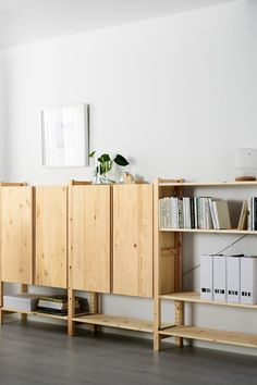 Storage you can customize. Our IKEA IVAR 3-section shelving unit is designed so you can combine different pieces to suit you and your space. Build upwards and to the sides to create the combination of shelves, drawers and cabinets you want. Made of durable, solid pine, you can paint or oil it the way you like, too.