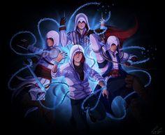Assassins Creed Desmond, Altair, Connor, and Ezio art