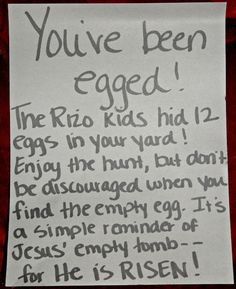 Easter Egg Hunt for your friends.  A simple reminder of Jesus' Empty Tomb! Holiday Parties, Holiday Fun, Holiday Crafts, Holiday Ideas, Hoppy Easter, Easter Bunny, Easter Eggs, Easter Food, Happy Holidays