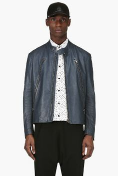 Maison Martin Margiela Slate Blue Leather Jacket