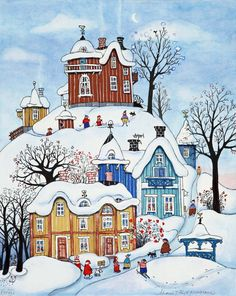 This delightful picture was painted by Marit Björnegran. Christmas Scenes, Christmas Pictures, Christmas Art, Winter Painting, Winter Art, Winter Illustration, Watercolor Illustration, Naive Art, Whimsical Art