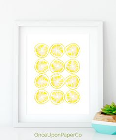 Lemon kitchen print, Kitchen printable, Farmhouse style, Rustic home decor, Lemon yellow kitchen, Lemon wall art, Large abstract decor by OnceuponpaperCo on Etsy