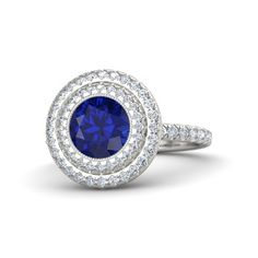 Round Sapphire 14K White Gold Ring with Diamond - lay_down