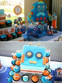 like the robot cake and cupcakes!