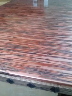 Diy Copper Patina Countertop With Wood Studded Edge Great Look For A Homeowner Who Wanted Earthy Kitchen Design