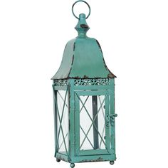 Rustic Sage Table Top Lantern £11.00 Bring a splash of light into your home or garden with this elegant rustic candle lantern. Boasting an weathered sage green tone for an antiquated appeal, while the look is finished with perspex panes, latching door and carry handle. H: 38cm. W:12cm. D:12cm.