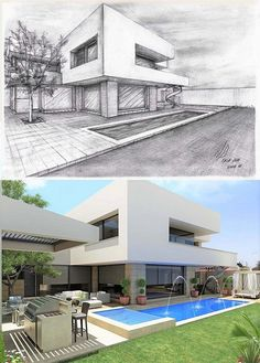 V ctor D az Arquitectos Architecture Concept Drawings, Architecture Sketchbook, Amazing Architecture, Modern Architecture, House Arch Design, House Design Drawing, Modern House Design, Modern Houses, Interior Design Sketches