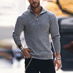 Description Product Name Solid color Boss zipper sweater Brand Name Shinyfancy SKU Material_old Style Casual, Men Casual, Style Men, Jeans Style, Shirt Style, Long Sleeve Sweater, Men Sweater, Mens Sweater Outfits, Latest Fashion Clothes