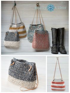 Boho style hand crocheted bucket bags in 11 unique designs