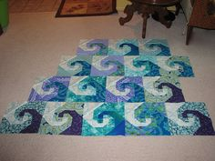 ocean waves quilt blocks - picture only Quilt Block Patterns, Pattern Blocks, Quilt Blocks, Square Patterns, Ocean Quilt, Beach Quilt, Quilting Projects, Quilting Designs, Quilting Ideas