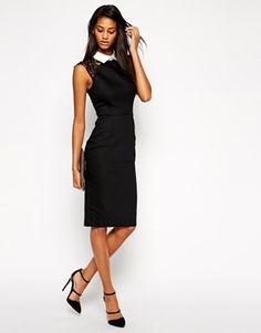 Black Contrast Trim ASOS Pencil Collar Dress With Lace Sleeve @ ASOS $65