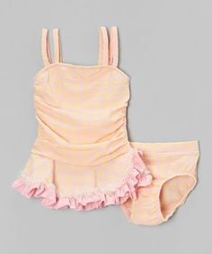 Look what I found on #zulily! Yellow & Pink Plaid Ruffle Tankini - Infant, Toddler & Girls #zulilyfinds