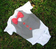 Custom Tuxedo Onesie Grey Vest with Coral bowtie on Short-sleeve Onesie or Shirt ANY COLOR and SIZE - Perfect Baby Boy Easter Outfit. $24.00, via Etsy.