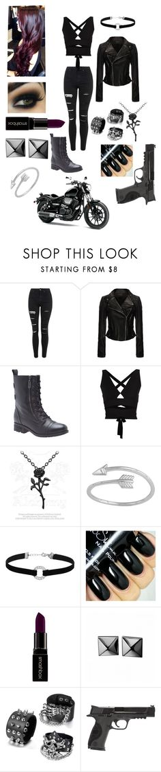 """""""Lilith"""" by scarlette-13 ❤ liked on Polyvore featuring Topshop, Lane Bryant, Proenza Schouler, Miss Selfridge, Smashbox, Waterford, Smith & Wesson, women's clothing, women and female"""