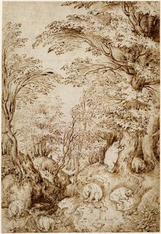 Pieter Bruegel the Elder - Woodland scene with bears, 1540-1569. Pen and brown ink, over black chalk