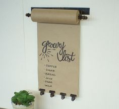 Wall Mounted Butcher Paper Roll, Restaurant Special Decor, Grocery List, To Do List with Metal Clips Scroll Pull Down, Craft Paper