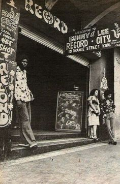 BUNNY LEE'S RECORD STORE in Orange Street in Kingston, Jamaica. Singer Cornell Campbell on the left...