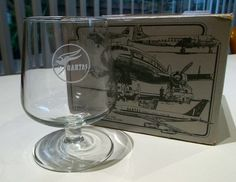 Boxed set of 4 Qantas glasses from the 707's, image Jenny Burrows
