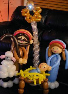 Nativity Scene baloons by Sparkles Smith Nacimiento o Belen hecho de globos Navidad for Christmas time