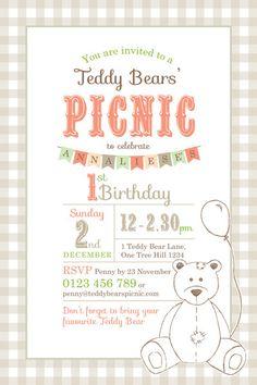 Gingham Teddy Bears Picnic Birthday Invitation Unisex birthday