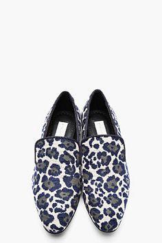 STELLA MCCARTNEY Blue terrycloth leopard spot loafers