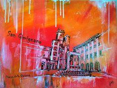 San Gimignano, Acryl Copic auf MDF, Hochglanzfirnis